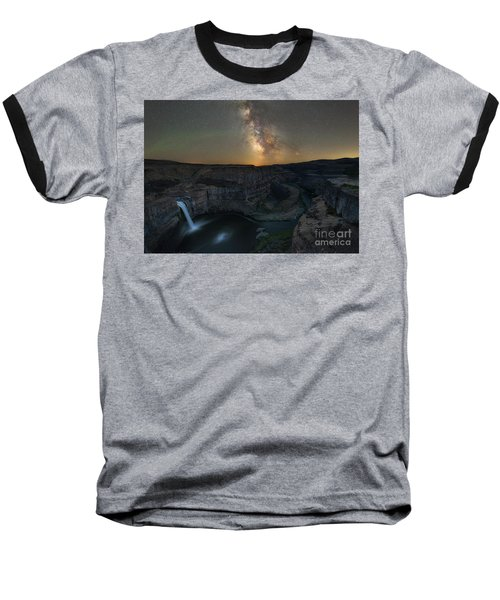 Palouse Falls Milky Way Galaxy  Baseball T-Shirt