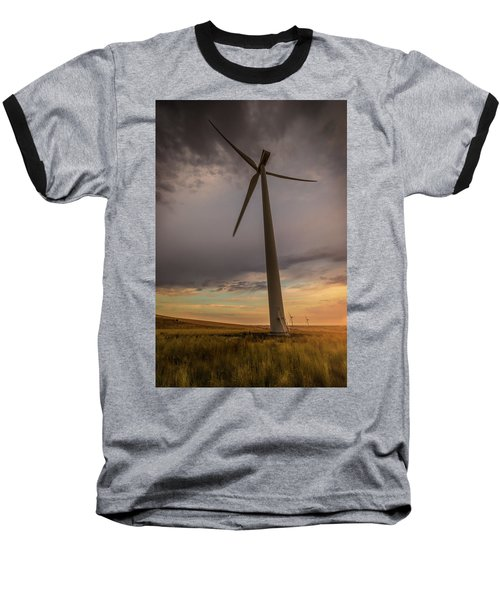 Baseball T-Shirt featuring the photograph Palouse Windmill At Sunrise by Chris McKenna