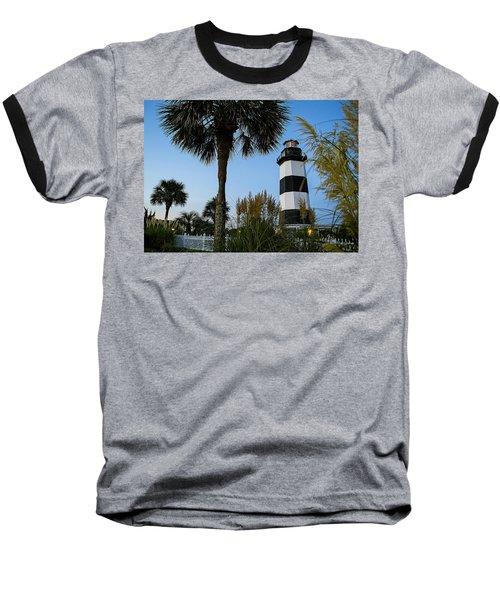 Pampas Grass, Palms And Lighthouse Baseball T-Shirt