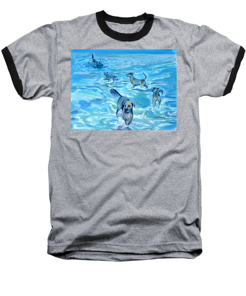 Baseball T-Shirt featuring the painting Panama. Salted Dogs by Anna  Duyunova