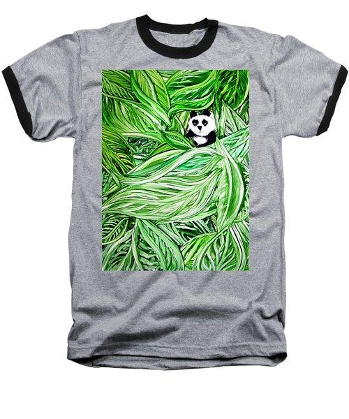 Panda Bear Sitting In Leaves Alcohol Inks Baseball T-Shirt