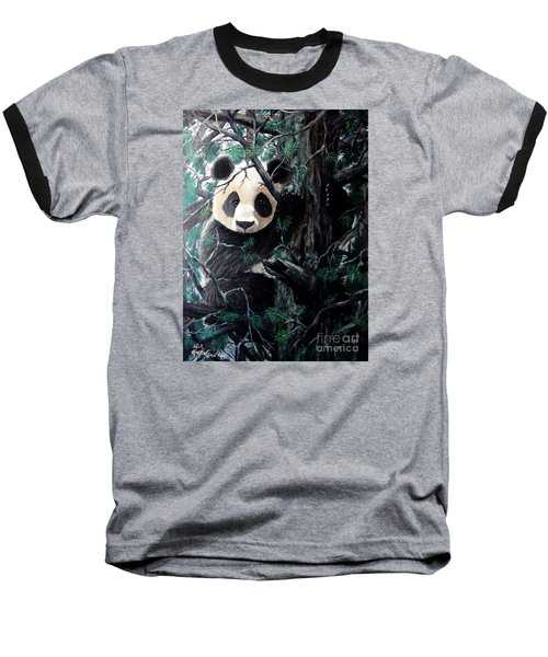 Panda In Tree Baseball T-Shirt by Nick Gustafson