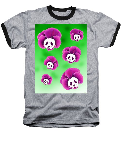 Panda Pansies Baseball T-Shirt