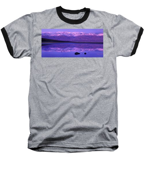 Panorama Badwater And The Panamint Range At Sunrise Death Valley Baseball T-Shirt