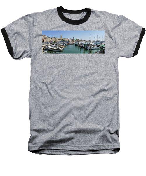 Panorama In Acre Harbor Baseball T-Shirt by Arik Baltinester