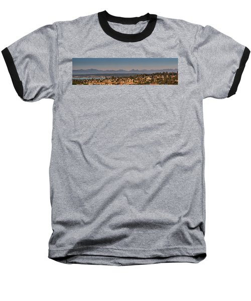 Panorama - Lake Washington - Cascade Mountains Baseball T-Shirt