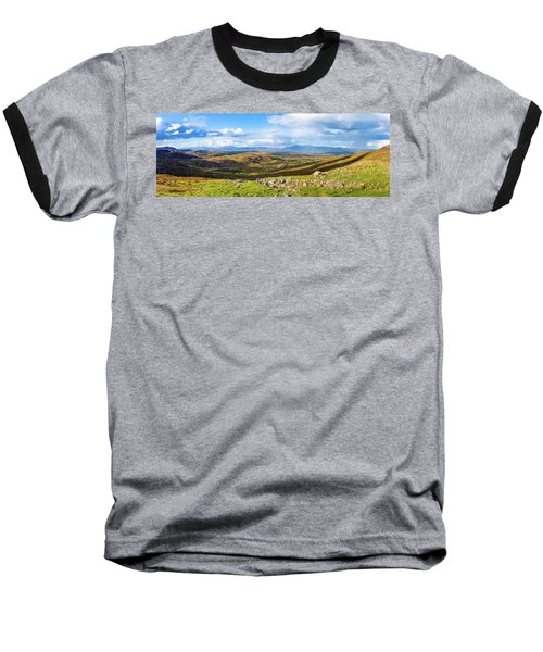 Panorama Of A Colourful Undulating Irish Landscape In Kerry Baseball T-Shirt by Semmick Photo