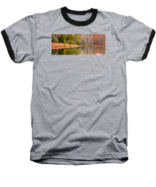 Panorama Of Cabin By The Lake Baseball T-Shirt by Shelby  Young