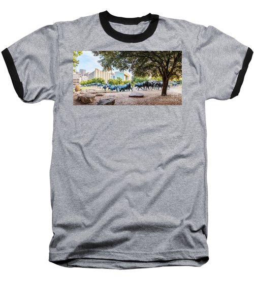 Panorama Of Cattle Drive At Pioneer Plaza In Downtown Dallas - North Texas Baseball T-Shirt
