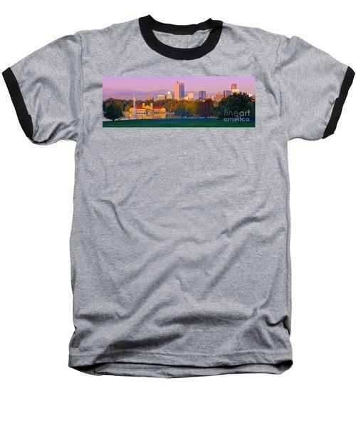 Panorama Of Denver Skyline From Museum Of Nature And Science - City Park Denver Colorado Baseball T-Shirt
