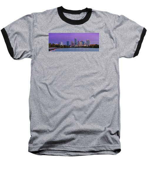 Panorama Of Downtown Austin Skyline From The Lady Bird Lake Boardwalk Trail - Texas Hill Country Baseball T-Shirt