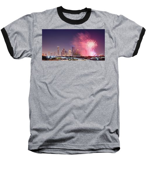 Panorama Of Downtown Houston Skyline Fireworks On The 4th Of July - Harris County Texas Baseball T-Shirt