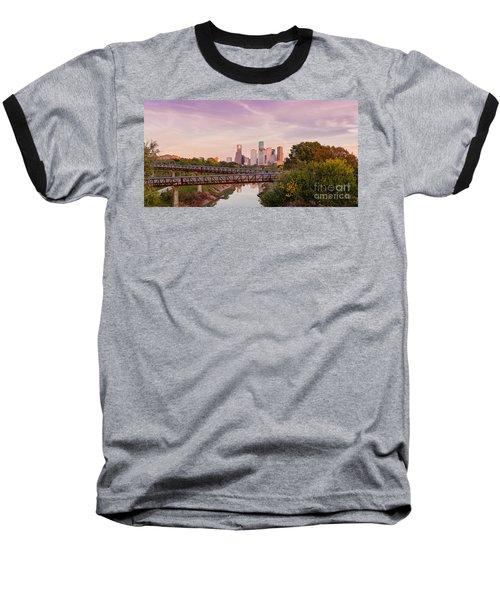 Panorama Of Downtown Houston Skyline From Studemont Drive - Buffalo Bayou Park Houston Texas Baseball T-Shirt