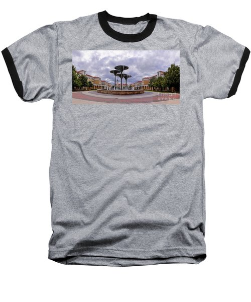 Panorama Of Texas Christian University Campus Commons And Frog Fountain - Fort Worth Texas Baseball T-Shirt