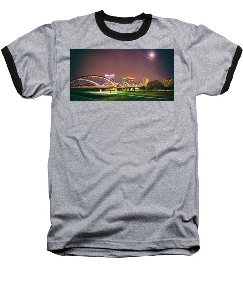 Panorama Of The Seventh Street Bridge And Downtown Fort Worth With Full Moon Above - Trinity River Baseball T-Shirt