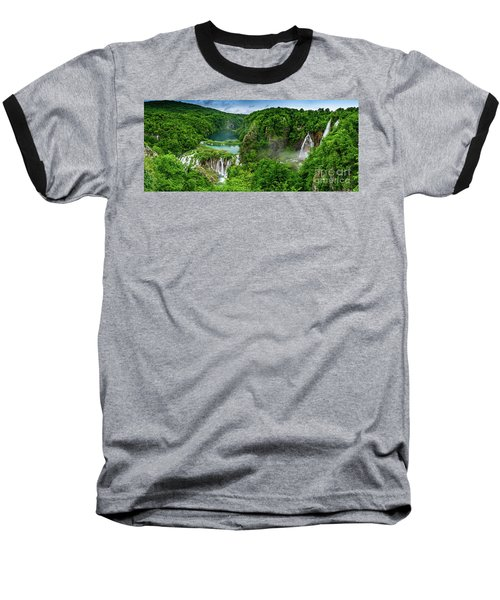 Panorama Of Turquoise Lakes And Waterfalls - A Dramatic View, Plitivice Lakes National Park Croatia Baseball T-Shirt