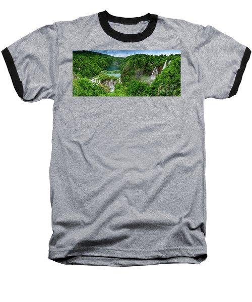 Panorama Of Turquoise Lakes And Waterfalls - A Dramatic View, Plitivice Lakes National Park Croatia Baseball T-Shirt