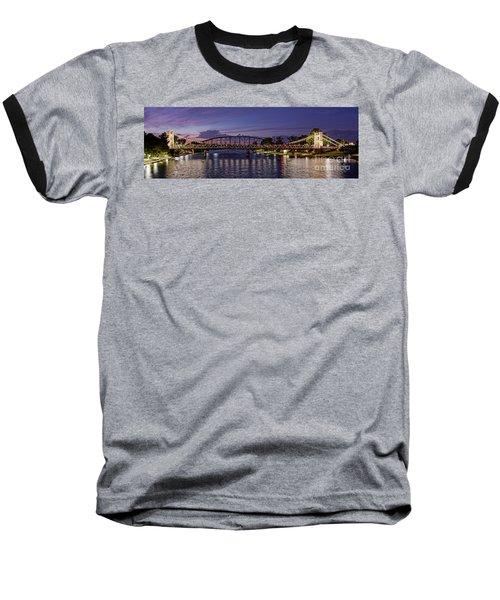 Panorama Of Waco Suspension Bridge Over The Brazos River At Twilight - Waco Central Texas Baseball T-Shirt