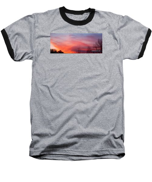 Panorama Sunset  Baseball T-Shirt by Yumi Johnson