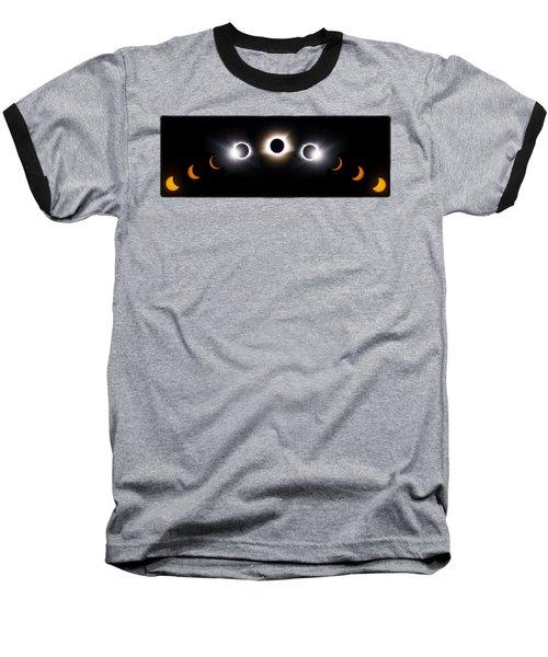 Panorama Total Eclipse T Shirt Art Phases  Baseball T-Shirt