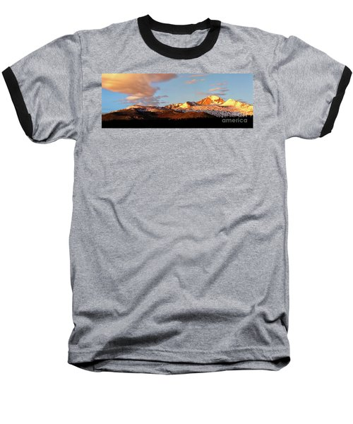 Panorama View Of Longs Peak At Sunrise Baseball T-Shirt by Ronda Kimbrow