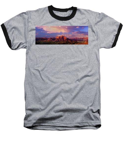 Panorama West Temple At Sunset Zion Natonal Park Baseball T-Shirt