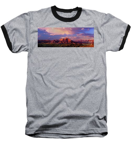 Baseball T-Shirt featuring the photograph Panorama West Temple At Sunset Zion Natonal Park by Dave Welling