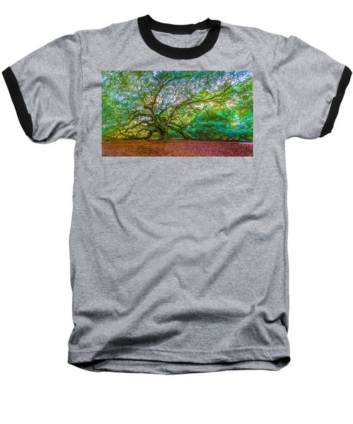 Panoramic Angel Oak Tree Charleston Sc Baseball T-Shirt