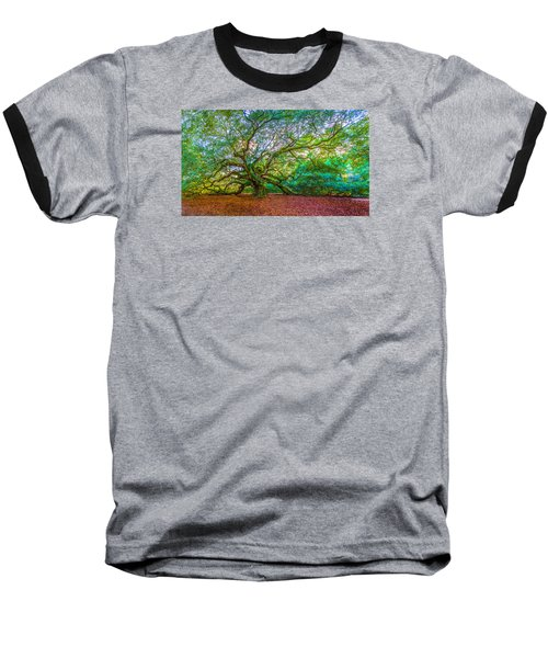 Panoramic Angel Oak Tree Charleston Sc Baseball T-Shirt