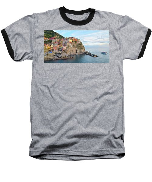 Baseball T-Shirt featuring the photograph Panoramic Manarola Seascape by Frozen in Time Fine Art Photography