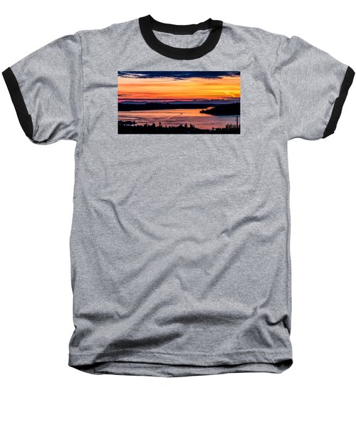Panoramic Sunset Over Hail Passage E Series On The Puget Sound Baseball T-Shirt