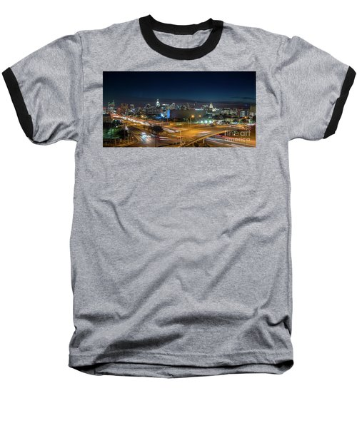 Panoramic View Of Busy Austin Texas Downtown Baseball T-Shirt