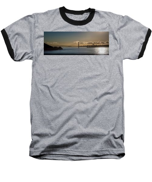 Panoramic View Of Downtown San Francisco Behind The Golden Gate  Baseball T-Shirt