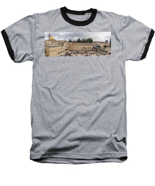 Panoramic View Of The Wailing Wall In The Old City Of Jerusalem Baseball T-Shirt