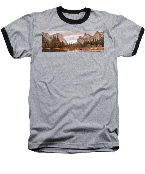 Panoramic View Of Yosemite Valley From Bridal Veils Falls Viewing Point - Sierra Nevada California Baseball T-Shirt