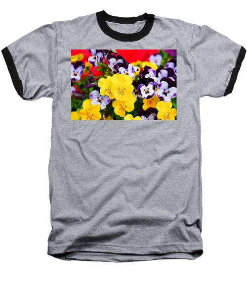 Pansies And Red Cart Baseball T-Shirt