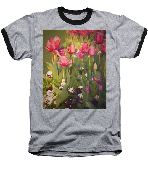 Pansies And Tulips Baseball T-Shirt