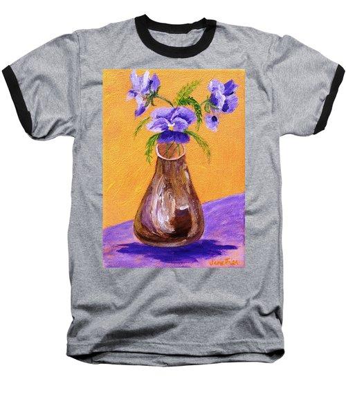 Pansies In Brown Vase Baseball T-Shirt