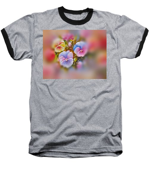 Baseball T-Shirt featuring the painting Pansies by Patricia Schneider Mitchell