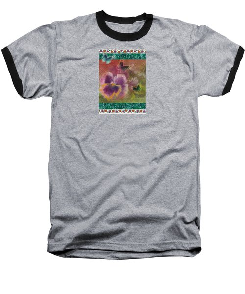 Baseball T-Shirt featuring the painting Pansy Butterfly Asianesque Border by Judith Cheng