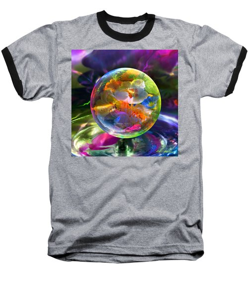 Baseball T-Shirt featuring the painting Pansy Drop by Robin Moline