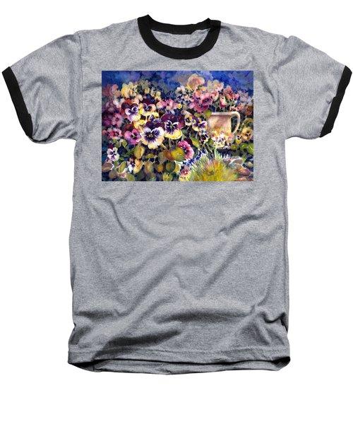 Pansy Garden Baseball T-Shirt