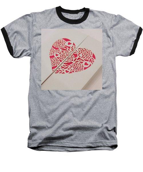 Paper Cut Heart Baseball T-Shirt by Helen Northcott
