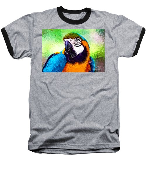 Pappagallo - Parrot Ara Ararauna Baseball T-Shirt by Zedi