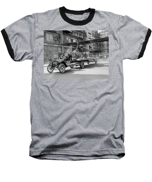 Parade Truck And Biplane Bw Baseball T-Shirt