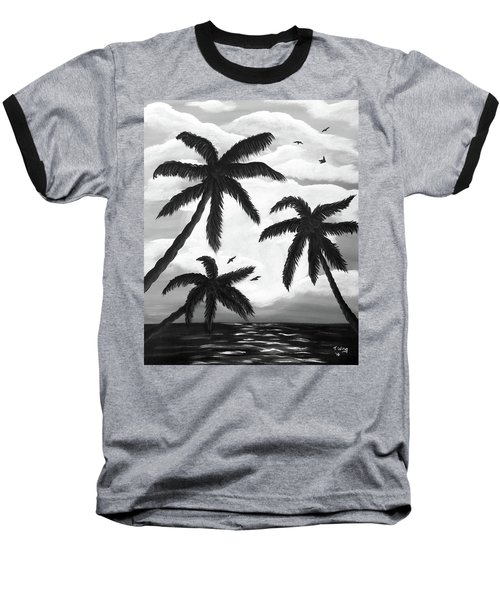Paradise In Black And White Baseball T-Shirt by Teresa Wing