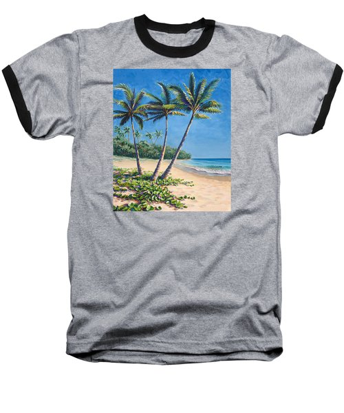 Baseball T-Shirt featuring the painting Tropical Paradise Landscape - Hawaii Beach And Palms Painting by Karen Whitworth