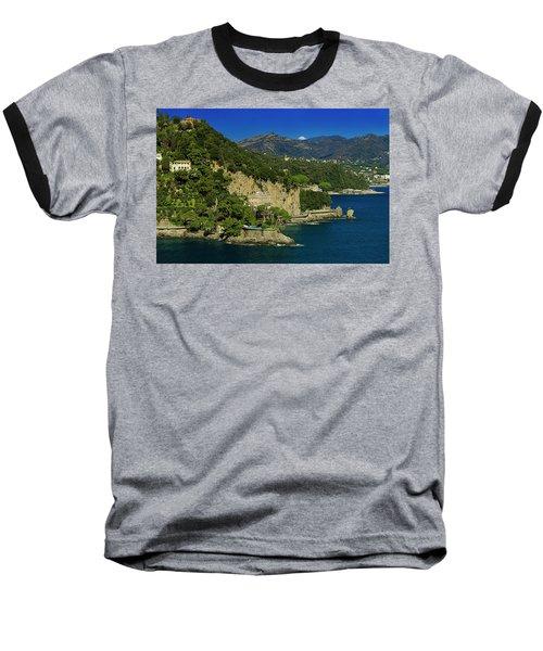 Paraggi Bay Castle And Liguria Mountains Portofino Park  Baseball T-Shirt
