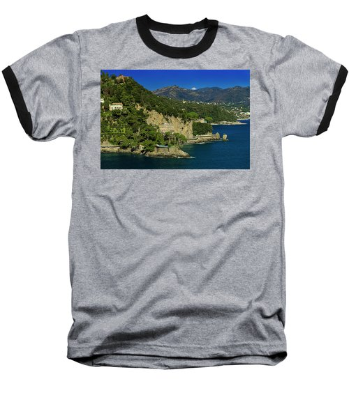 Paraggi Bay Castle And Liguria Mountains Portofino Park  Baseball T-Shirt
