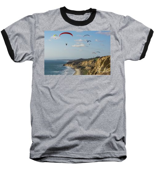 Paragliders At Torrey Pines Gliderport Over Black's Beach Baseball T-Shirt
